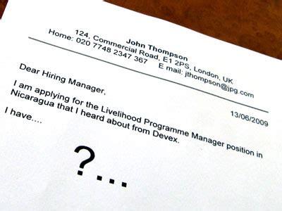 Business development internship cover letter